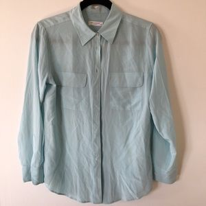 Equipment signature 100% silk shirt blue s small